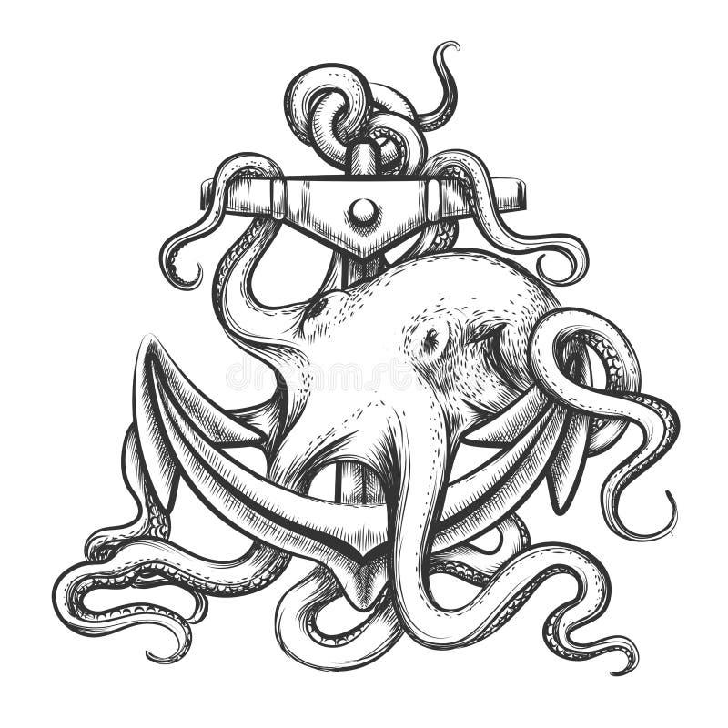 Ośmiornica i kotwica royalty ilustracja