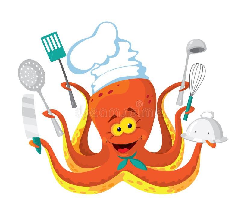 Ośmiornica kucharz ilustracji