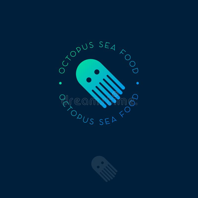 Ośmiornica owoce morza logo Owoce morza restauraci emblemat Minimalistic owoce morza ikona royalty ilustracja
