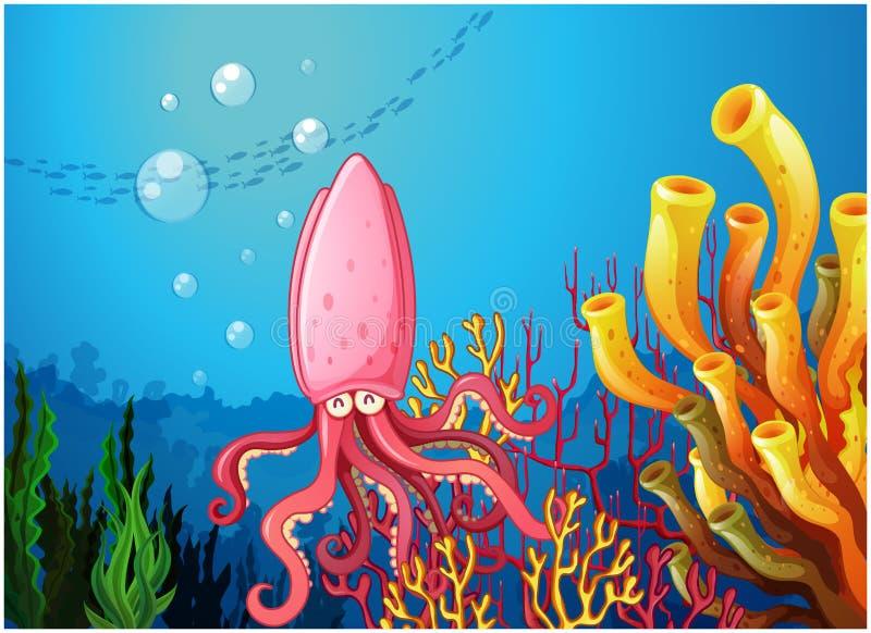 Ośmiornica pod morzem blisko kolorowych korali ilustracja wektor