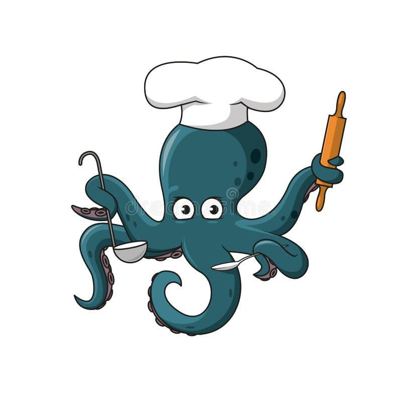 Ośmiornica szef kuchni w bielu kucharza kapeluszu postać z kreskówki ilustracja wektor