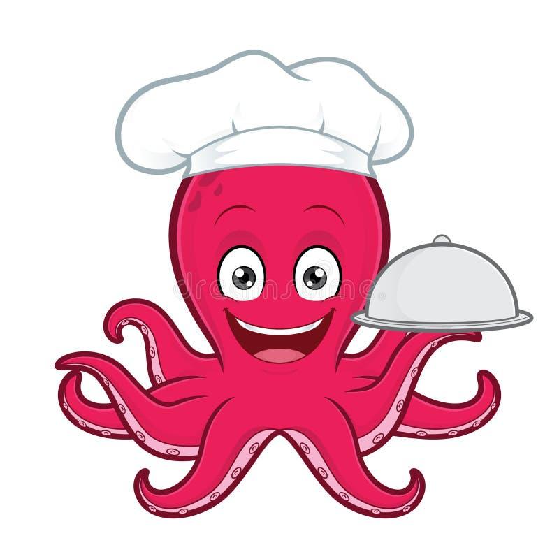 Ośmiornica szefa kuchni porci jedzenie w odłamka półmisku ilustracja wektor