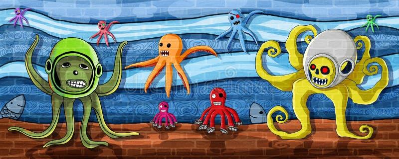Ośmiornica w dennej ściany farbie ilustracja wektor