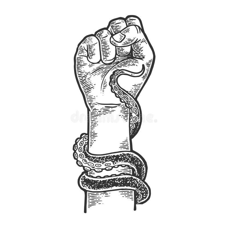 Ośmiornica wokoło ludzkiego ręki nakreślenia rytownictwa wektoru royalty ilustracja