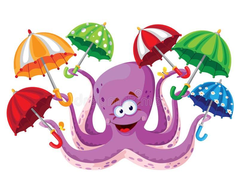 Ośmiornica z parasolem royalty ilustracja