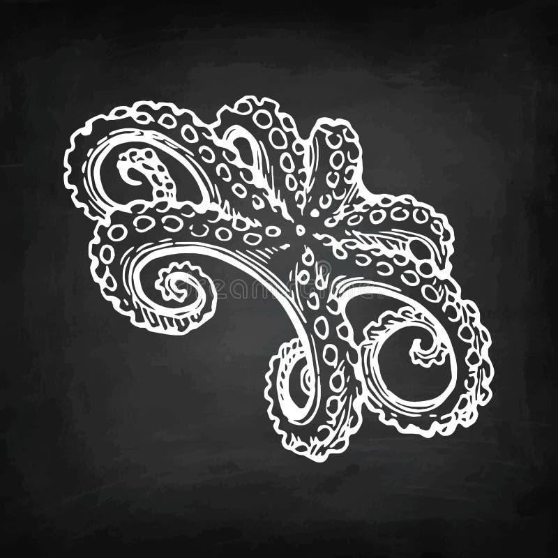 Ośmiornicy kredy nakreślenie ilustracja wektor