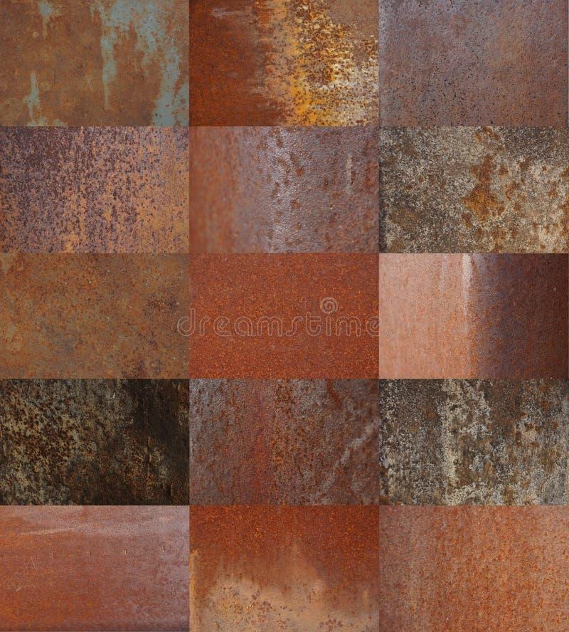 Ośniedziała metal tekstura ustawia piętnaście tekstur zdjęcia stock