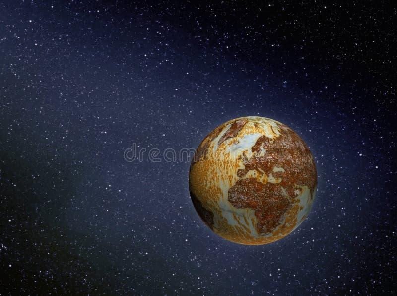 Ośniedziała ziemia w przestrzeni zdjęcia stock