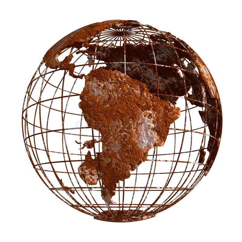 Ośniedziała Ziemska planety 3D kula ziemska royalty ilustracja