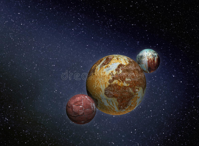 Ośniedziałe planety w przestrzeni fotografia stock