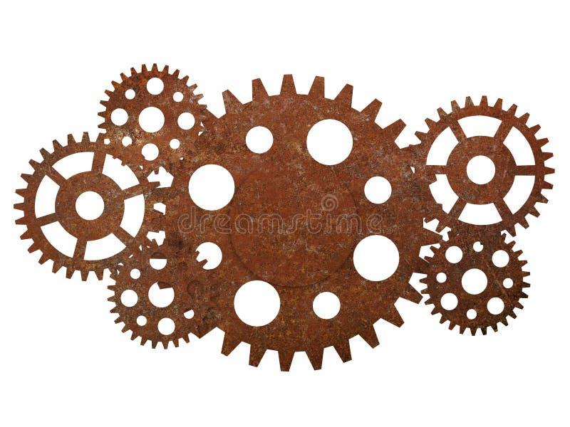 Ośniedziałe przekładnie i cogwheels fotografia stock