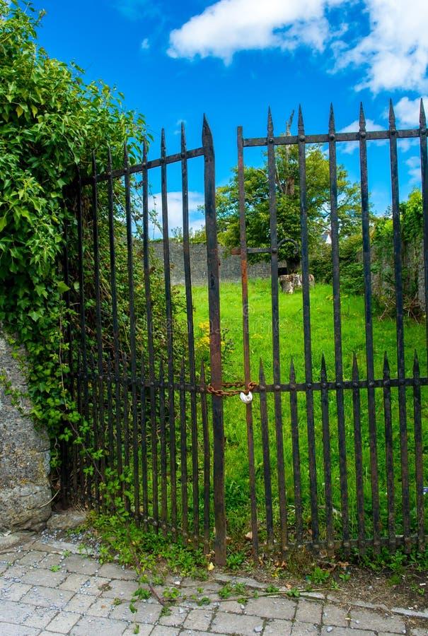 Ośniedziały Żelazny drzwi Blokujący Z łańcuchem I kłódką fotografia royalty free