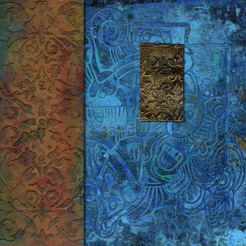 Ośniedziały metal embossed textured płytka kolaż obraz stock