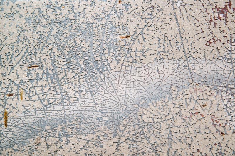 Ośniedziały metal tekstury tło, Grunge powierzchnia z krakingową białą farbą fotografia stock