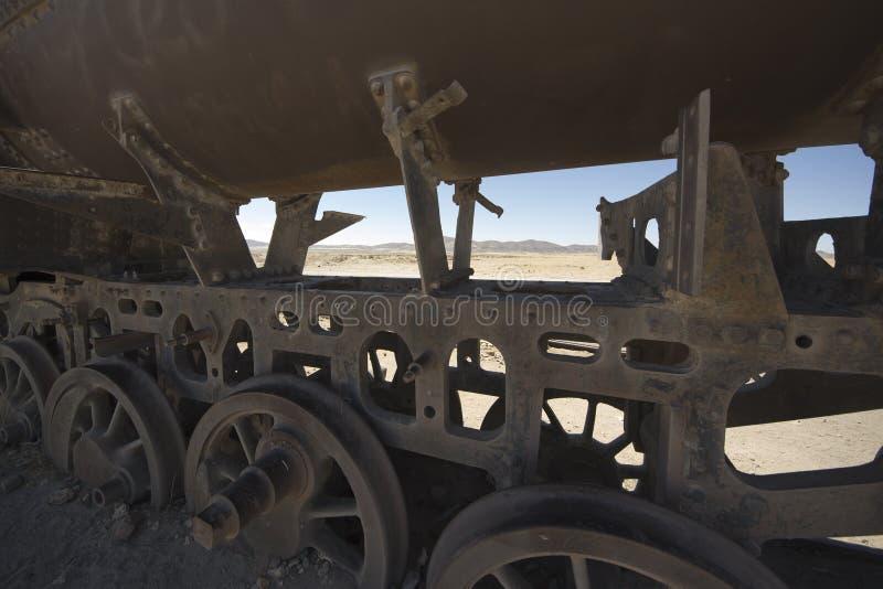 Ośniedziały pociąg, taborowy cmentarz w Uyuni, Boliwia zdjęcie royalty free