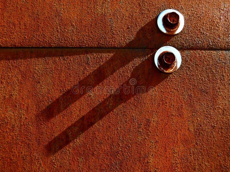 Ośniedziały Stalowego talerza budynku elewaci szczegół z skowami fotografia royalty free
