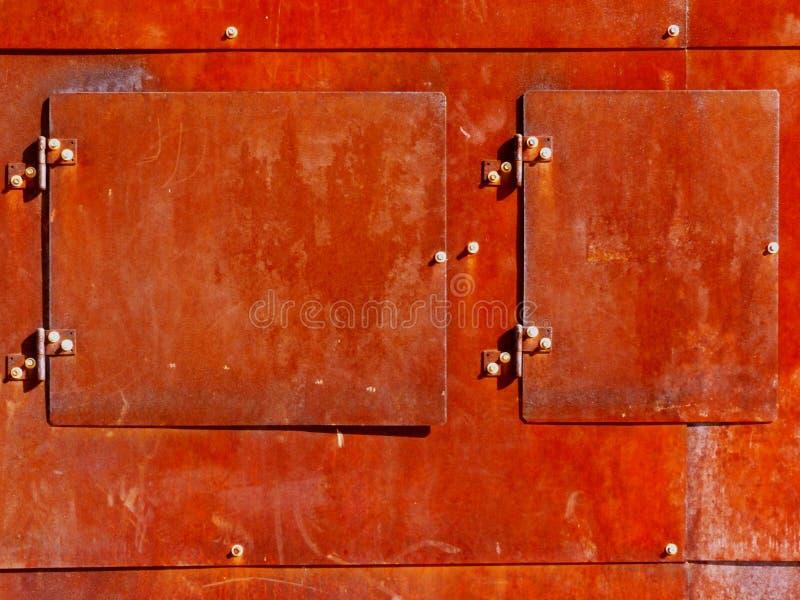 Ośniedziały Stalowego talerza drzwi abstrakt obraz royalty free