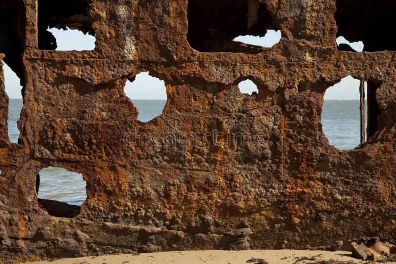 Ośniedziały Stalowy Shipwreck Textured Nawierzchniowy Abstrakcjonistyczny tło obraz stock
