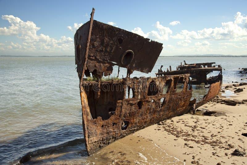Ośniedziały Stalowy Shipwreck Textured powierzchnia obrazy royalty free