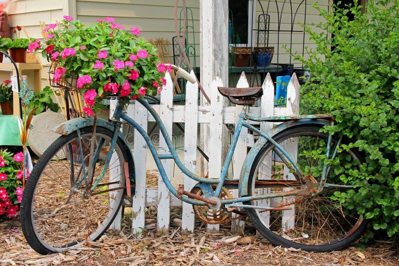 Ośniedziały Stary rocznika rower Wystawiający w kwiatu ogródzie zdjęcie royalty free