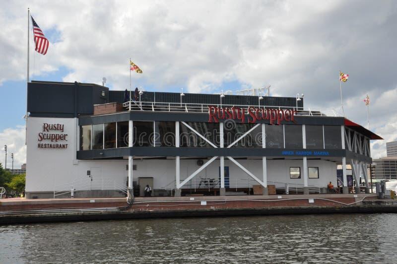 Ośniedziały Zatapia restaurację & baru przy Wewnętrznym schronieniem w Baltimore, Maryland zdjęcia royalty free