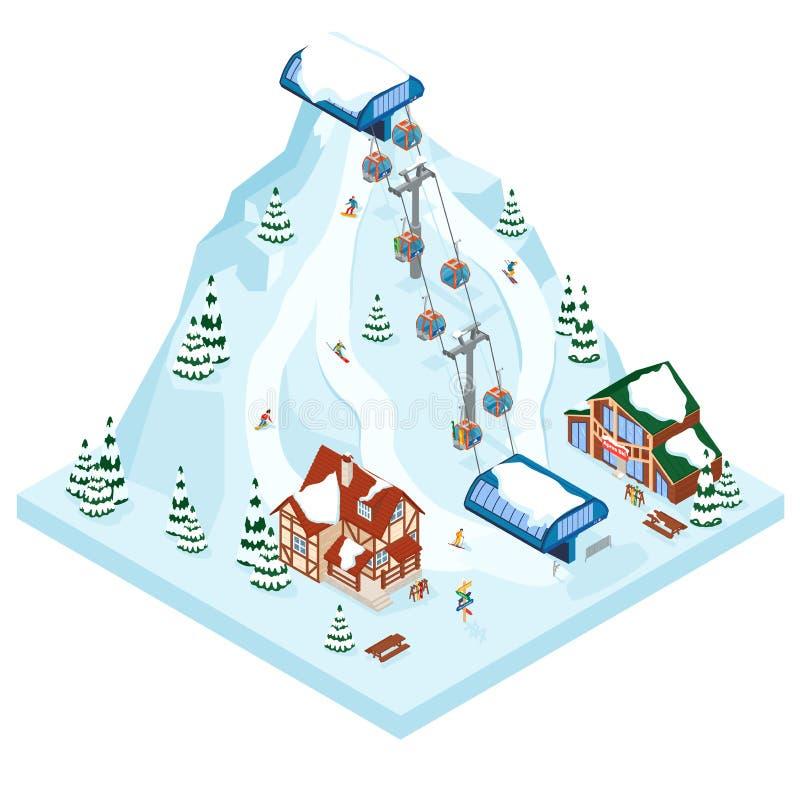 Ośrodek narciarski gondoli urlopowy sposób Zimy aktywności plenerowy wakacyjny sport w alps, krajobrazie z widokiem górskim i les royalty ilustracja