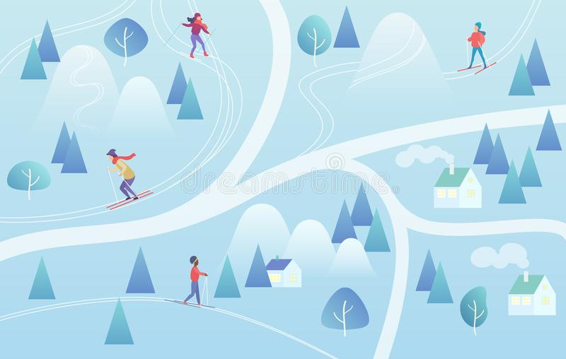 Ośrodek Narciarski z narciarkami Halny narciarstwo mapy stylu tła zimy kurort z ludźmi Wektorowy gradientowy koloru wektor ilustracja wektor