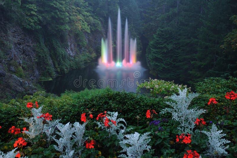 oświetleniowa fontanny noc zdjęcia royalty free