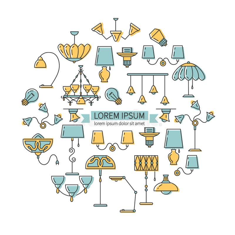 Oświetleniowy ikona set, lamp kolorowe ikony Oświetleniowy okręgu infographics, modne kreskowe ikony click tła projektanta colori ilustracja wektor
