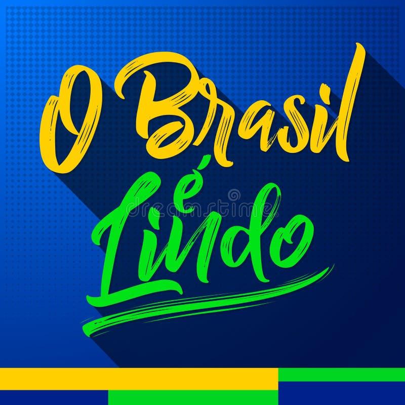 O巴西e Lindo,巴西是美好的葡萄牙文本 向量例证