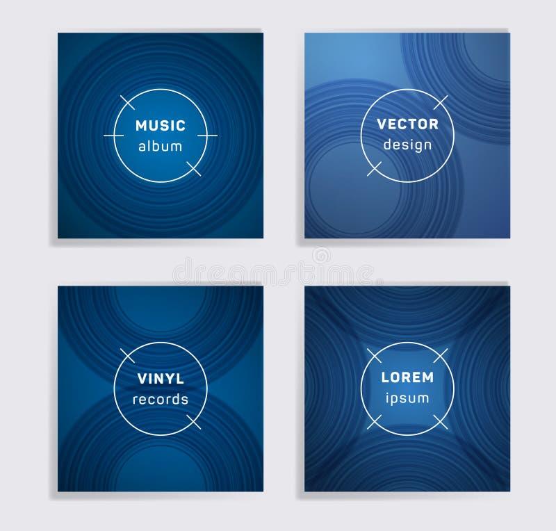 O álbum abstrato da música dos registros de vinil cobre o grupo ilustração do vetor