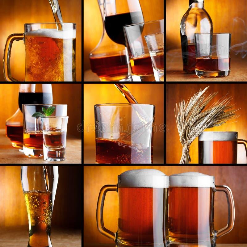 O álcool bebe a colagem imagens de stock royalty free