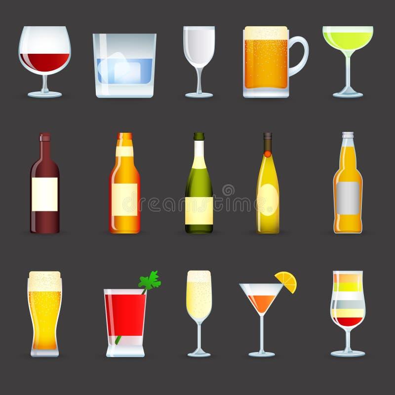 O álcool bebe os ícones ajustados ilustração do vetor
