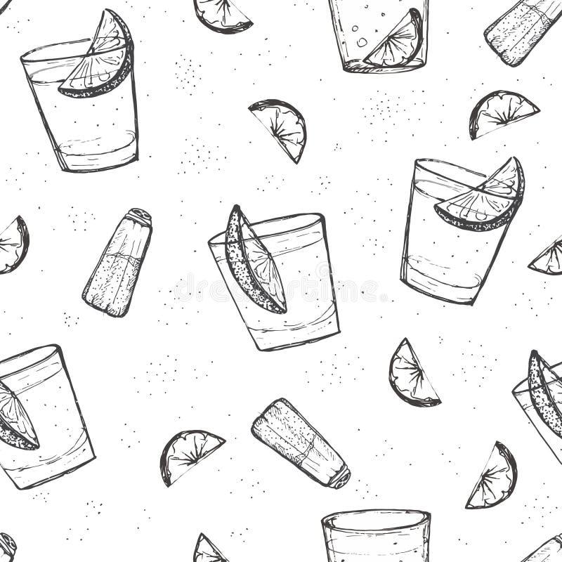 O álcool sem emenda bebe o teste padrão do vetor. Tequila esboçado com cal e sal ilustração do vetor