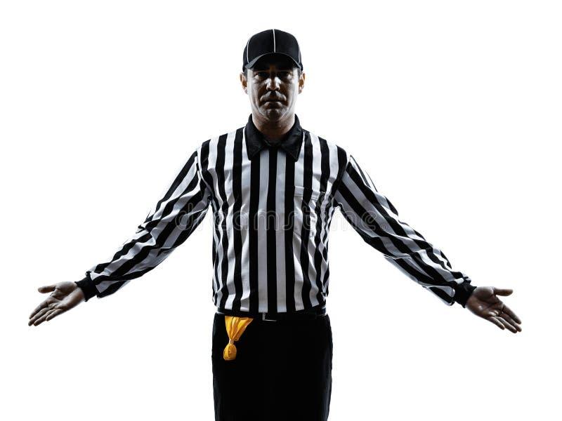 O árbitro do futebol americano gesticula a silhueta imagem de stock royalty free