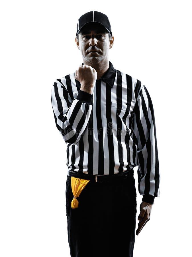 O árbitro do futebol americano gesticula a silhueta do facemask fotografia de stock royalty free