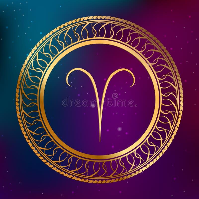 O Áries abstrato do sinal do zodíaco do horóscopo do ouro do conceito da astrologia do fundo circunda a ilustração do quadro ilustração do vetor
