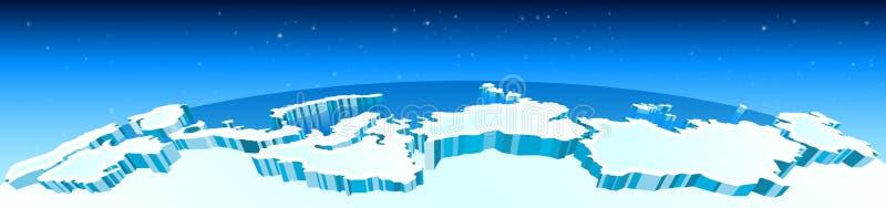 O Ártico, o Polo Norte no mapa, as geleiras e as regiões do Norte Ártico no mundo Vetor ilustração stock