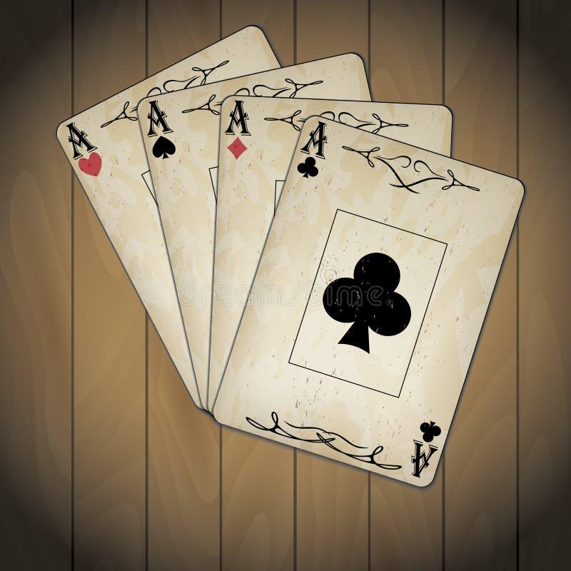 O ás de espada, ás de corações, ás de diamantes, ás do pôquer dos clubes carda olhar velho o fundo de madeira envernizado ilustração stock