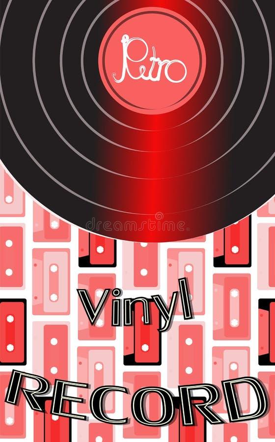 O áudio musical é um registro de vinil retro da antiguidade do moderno do vintage velho e um registro de vinil da inscrição no fu ilustração do vetor
