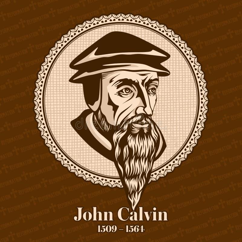 """O †1509 de John Calvin """"1564 era um teólogo, um pastor e um reformista franceses em Genebra durante a reforma do protestante ilustração stock"""