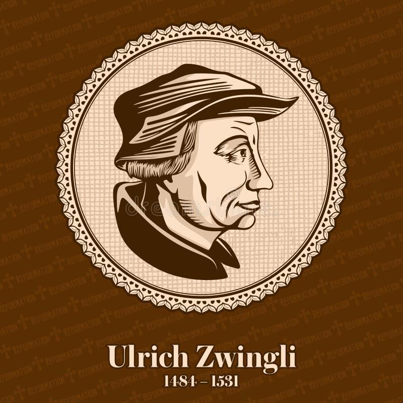 """O †1484 de Ulrich Zwingli """"1531 era um líder da reforma em Suíça Figura cristã ilustração stock"""