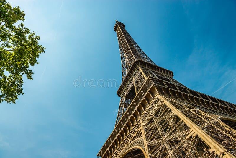 O ângulo largo disparou da torre Eiffel no verão foto de stock royalty free