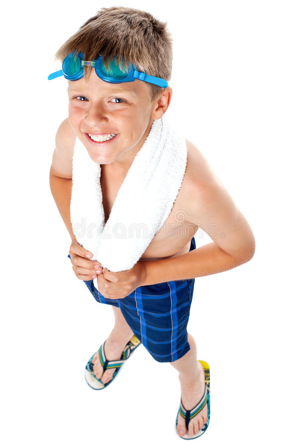 O ângulo superior disparado de uma criança no traje de natação fotografia de stock
