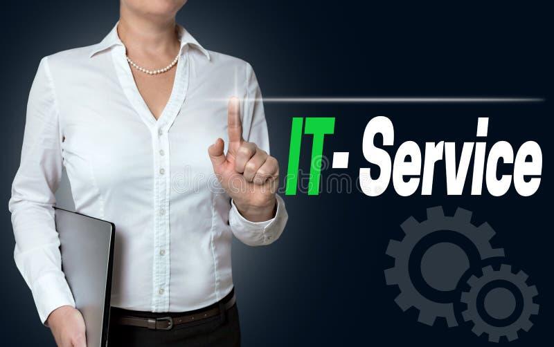 O écran sensível do serviço da TI é operado pelo fundo da mulher de negócios fotografia de stock royalty free