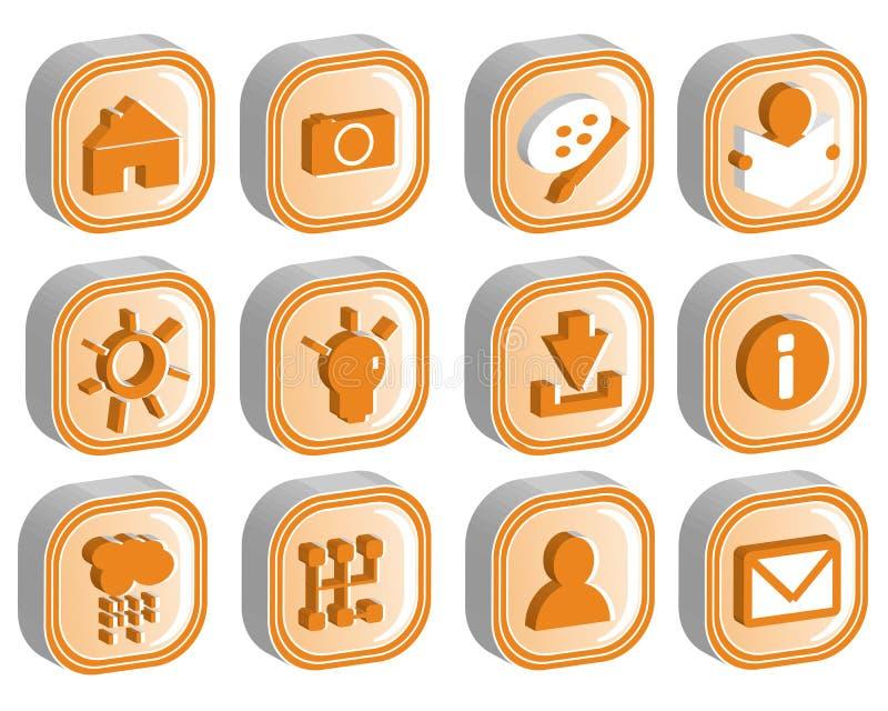 o ícone 3D ajustou o vetor 2 ilustração stock