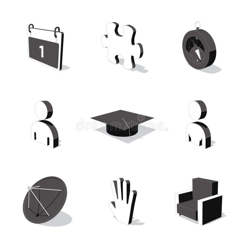 O ícone 3D branco ajustou 05 ilustração stock