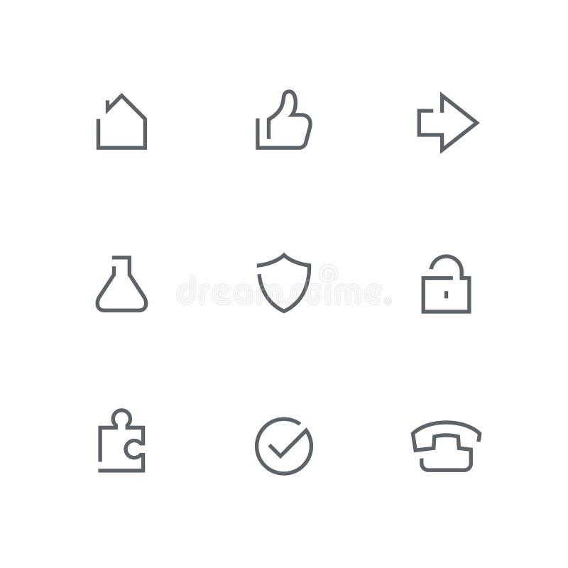 O ícone aberto do esboço ajustou 05 ilustração stock