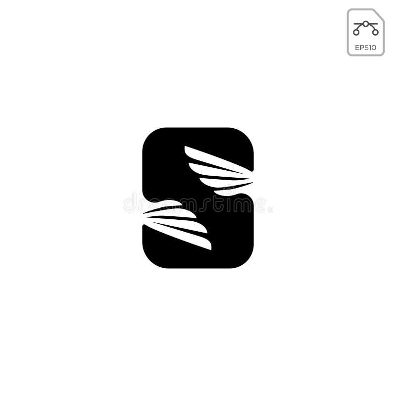 o ícone abstrato do vetor do projeto da inicial s do logotipo das asas isolou-se ilustração stock