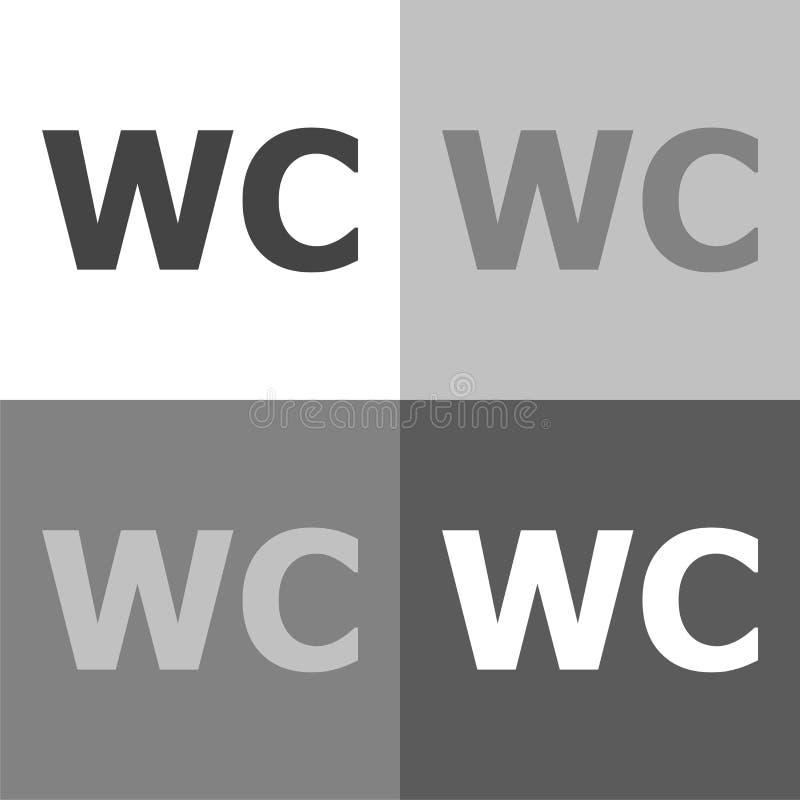 O ícone ajustado do toalete do vetor, inclui a inscrição do WC no branco-cinzento-bl ilustração do vetor